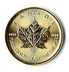 商品名「純金コイン【カナダ】メイプルリーフ金貨5ドル1/10ozCANADA」