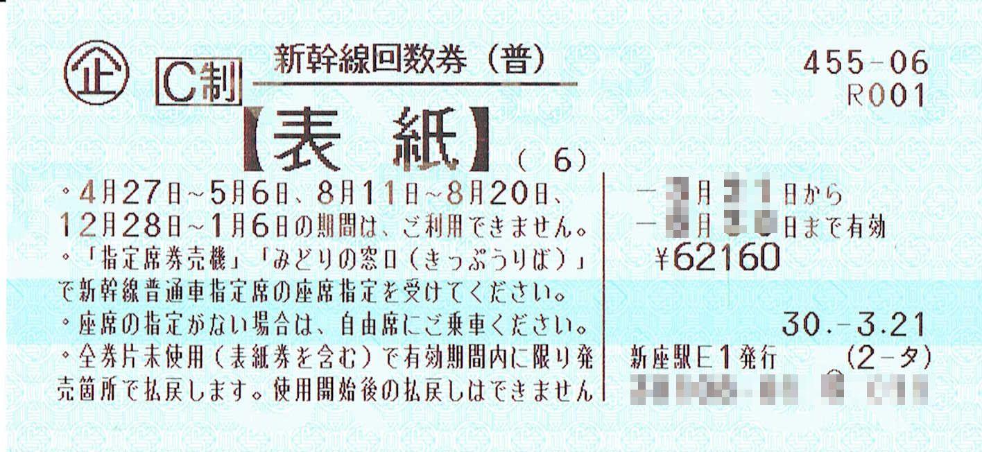 商品名「新幹線回数券 東京⇔名古屋(指定)6枚綴 発券から7日以内」
