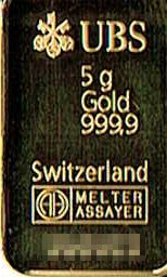 商品名「UBSAGGoldMELTERASSAYERSwitzerland純金インゴットバースイス999.95g」