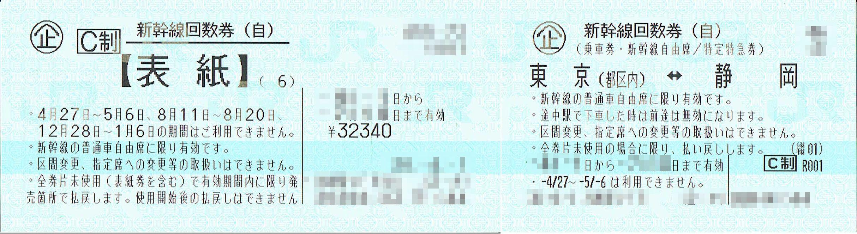 商品名「新幹線回数券 東京⇔静岡(自由)6枚綴 発券から7日以内」