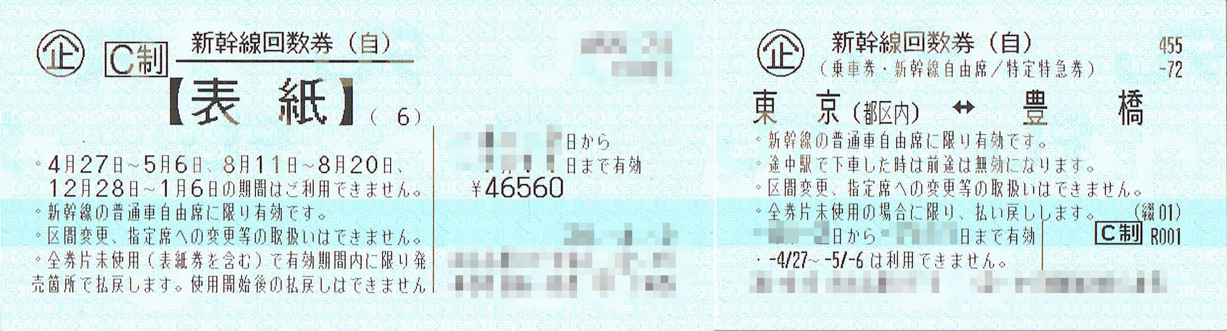 商品名「新幹線回数券 東京⇔豊橋(自由)6枚綴 発券から7日以内」