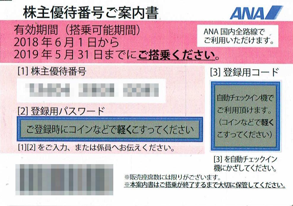 商品名「株主優待券ANA(全日空)2019年5月31日搭乗分まで」