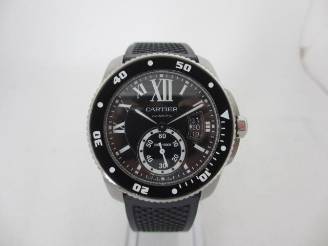 ブランド「カルティエ」商品名「カリブルドゥカルティエダイバー(42㎜/SS×ラバー)」型番「W7100056」カラー「ブラック」