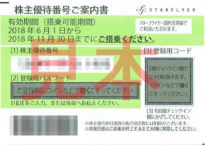 商品名「株主優待券 スターフライヤーSTARFLYER(SFJ)~11/30」