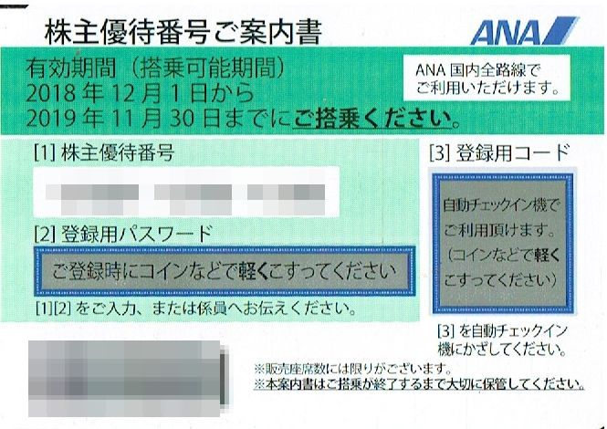 商品名「株主優待券ANA(全日空)2019年11月30日搭乗分まで」