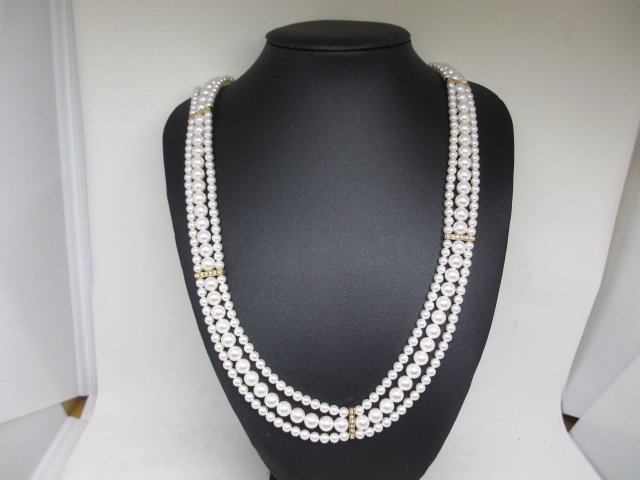 ミキモト[mikimoto]K18ダイヤパールネックレス