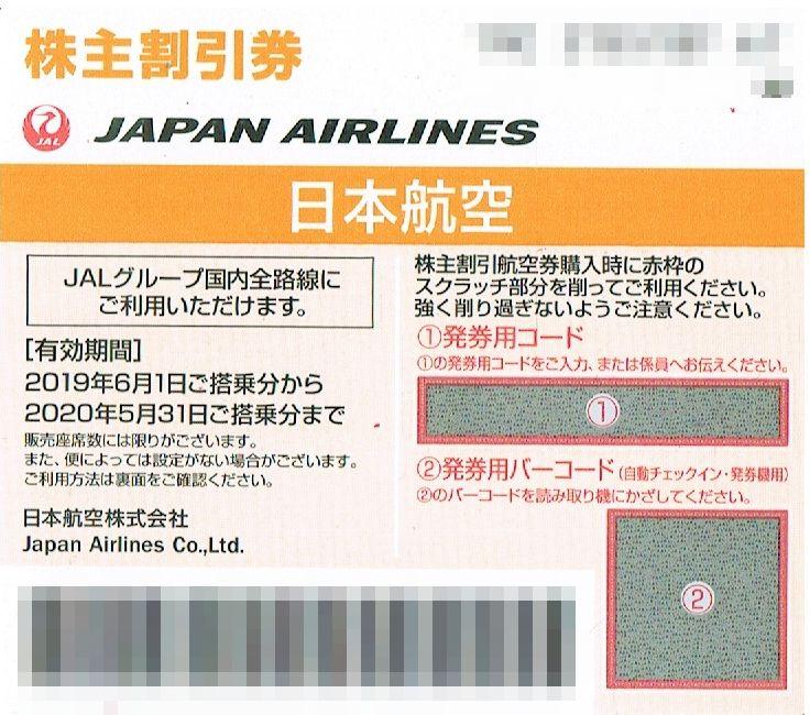 商品名「株主優待券JAL(日本航空)2020年5月31日搭乗分まで」