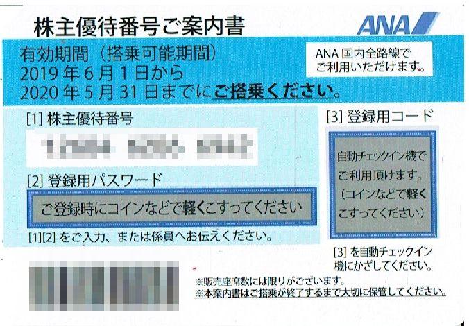 商品名「株主優待券ANA(全日空)2020年5月31日搭乗分まで」