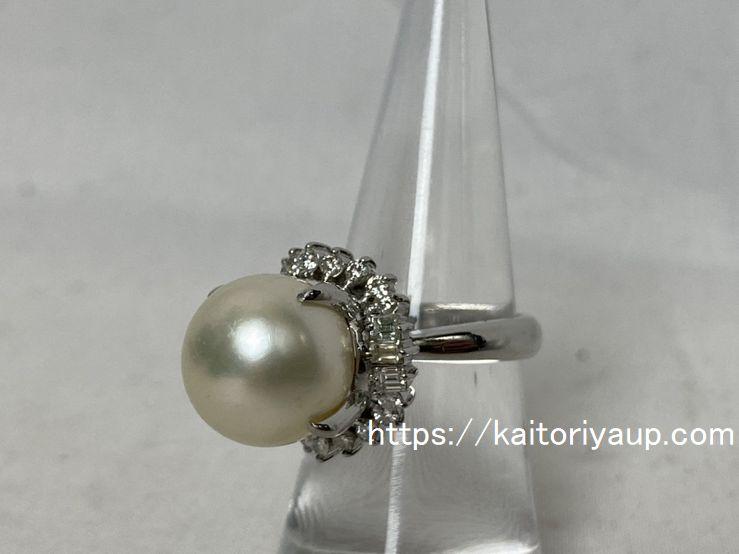 ノーブランドPt900[プラチナ900]パール12.45mmダイヤモンド0.77ctリング